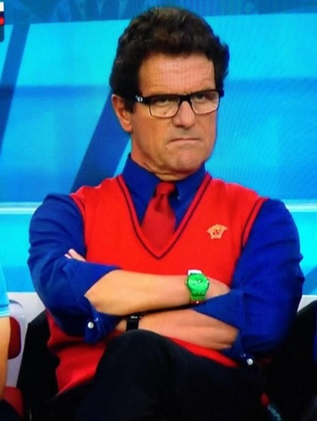 Russia boss Fabio Capello went dressed for the occasion (Picture: ITV)