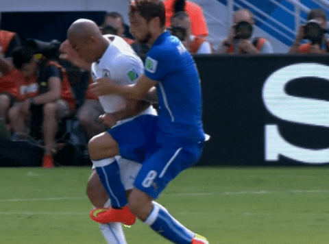 Did Claudio Marchisio deserve to be sent off for this tackle against Uruguay?