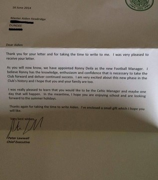 Six-year-old applies for Celtic job, gets brilliant reply from club