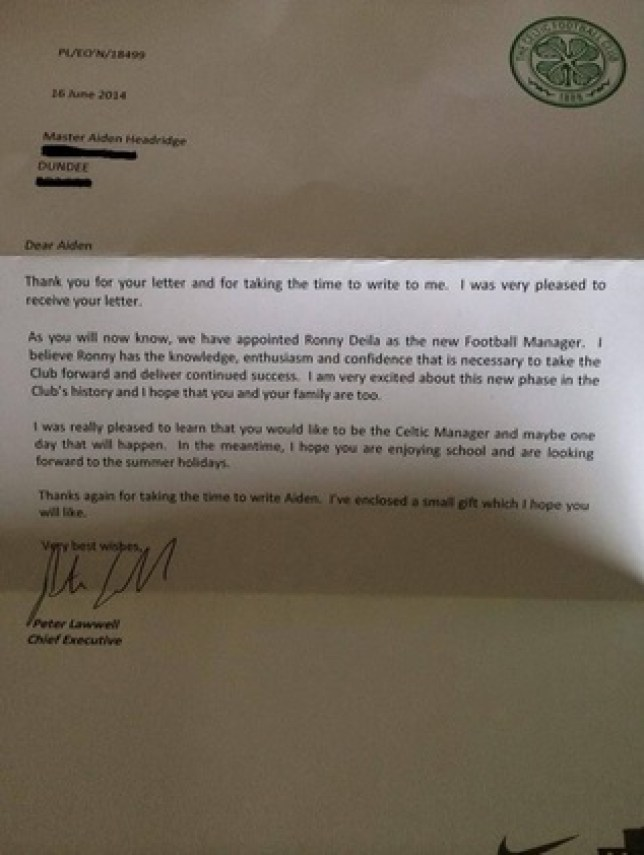 Celtic news: Six-year-old gets fantastic response from Bhoys after