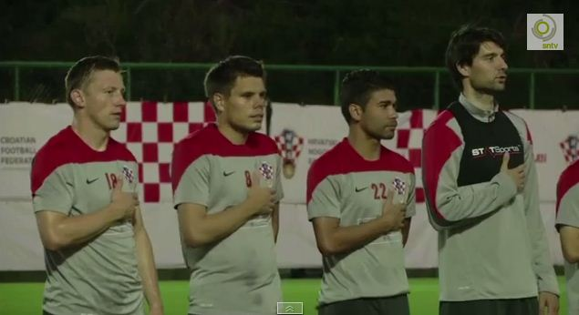 Croatia practice singing national anthem in training – an idea for England, perhaps?