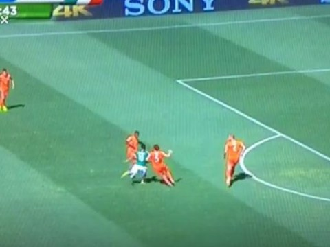 Watch striker Giovani dos Santos give Mexico the lead against the Netherlands in their World Cup last 16 tie