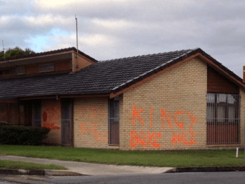Young at heart: 63-year-old vandal graffitis police station, flees on kid's scooter