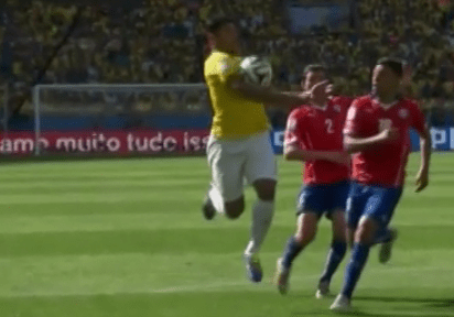 Was referee Howard Webb right to rule out this Hulk goal for Brazil against Chile?