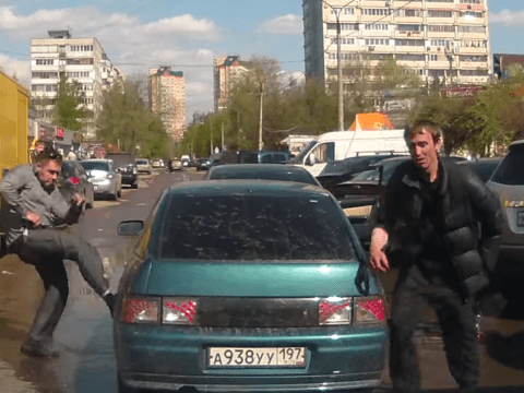 Vicious road rage street fight captured in dash-cam footage