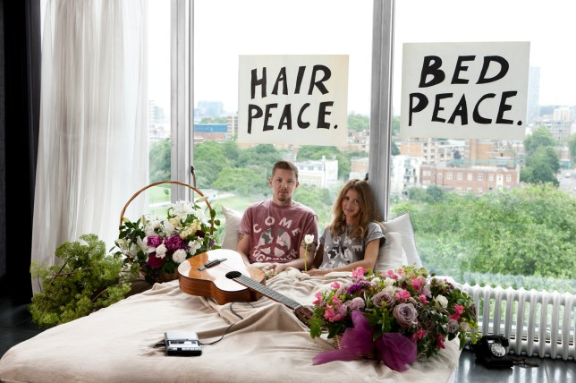 Millie and Professor Green's glamorous take on Yoko Ono and John Lennon's 1969 'bed-in' (Picture: River Island x War Child)