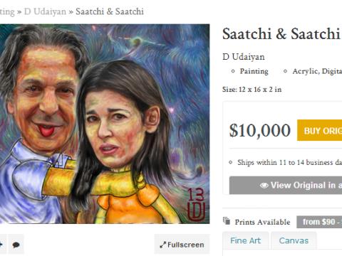 Charles Saatchi advertises 'throttling' paintings on art website