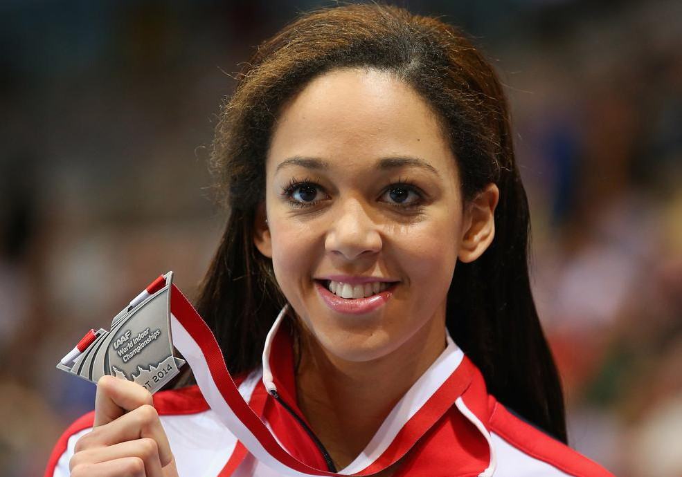 Katarina Johnson-Thompson with her World Indoor long jump silver medal (Picture: Getty Images)