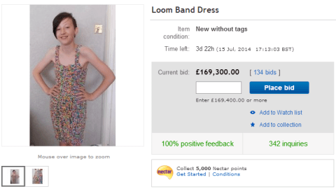 Loom bands: eBay bids for dress made from rubber bands reaches £169,000