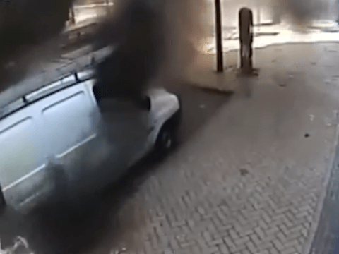 Dramatic moment van explodes in town centre caught on CCTV