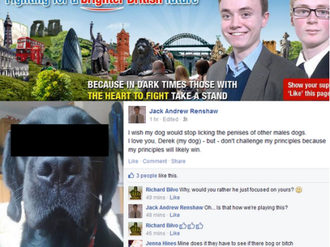 BNP Youth leader criticises own 'gay' dog on Facebook for 'challenging his principles'