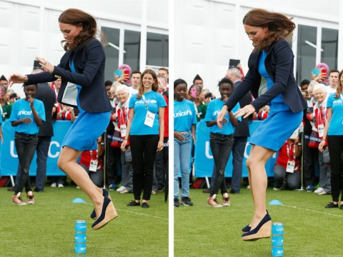 Kate Middleton, Prince Harry and William join Usain Bolt in the fun and games at the Commonwealth Games 2014