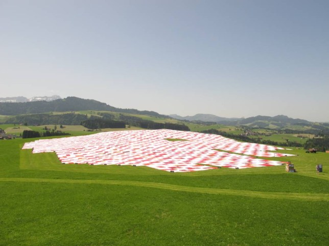 """BIGNIK_2014_Tuch.JPG  MUST LINK BACK TO WEBSITE    What is BIGNIK? To create together a huge picnic blanket for a whole population, which has a dimension of 100 football fields, existing of 252'144 single fabrics, exactly how much number of inhabitants of the region counts. This is the Vision of «St.Gallen Region» as initiant and the concept artists Frank and Patrik Riklin from the Atelier für Sonderaufgaben (internationally known for their """"Zero Star Hotel""""), which had the idea for the BIGNIK. BIGNIK is not an event in a conventional meaning. BIGNIK is a artistic intervention, which profits from the local textile resources and in which a large part of the human population is involved. BIGNIK is the try to create a unique social tradition for the Region, a platform for face-to-face encounter and stories. By now there were more than thousand people involved in the development proceeding. They connect, support and sew since months - and hold the vision of BIGNIK further. The plan is that the BIGNIK blanket yearly grows and at a time in the early summer invite for a Picnic. In 2027, 50% of the BIGNIK vision will be reached.  In addition, you will find attached a portrait of the creator of BIGNIK, the twin brother and concept artist Frank and Patrik Riklin from the Atelier für Sonderaufgaben (internationally known for their """"Zero Star Hotel""""). Please use the following credits for the"""