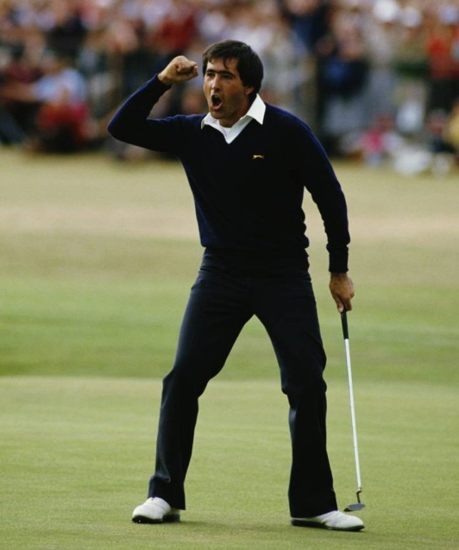 Seve Ballesteros of Spain celebrates after he holes out on the final 18th green to win the 113th Open Championship on 22nd July 1984 on the Old Course at St Andrews, Scotland, United Kingdom.  (Photo by David Cannon/Getty Images)