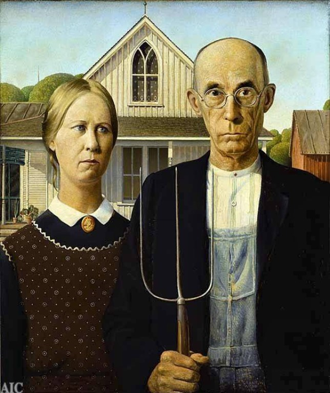 PAINTINGS American Gothic painted by Grant Wood   (file size 214.4kb) compare with Rita Greer's Mouseterpieces. Image downloaded from the internet on 15/12/2003 Copyright unknown.