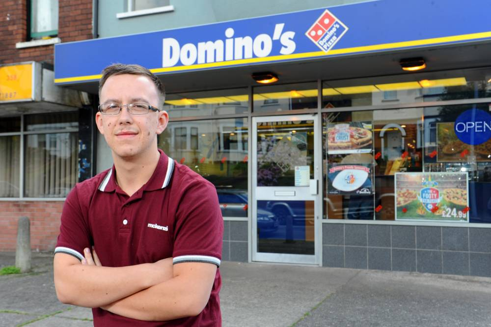 Nathaniel Bolwell, 19 who bought a £17.99 pizza from Domino's - but had £179,923.23 taken from his bank account. © WALES NEWS SERVICE