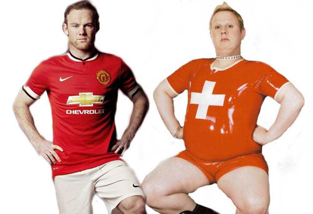 Wayne Rooneyin Chevrolet Manchester United top looking like Matt Lucas in Little Brituan as gay man