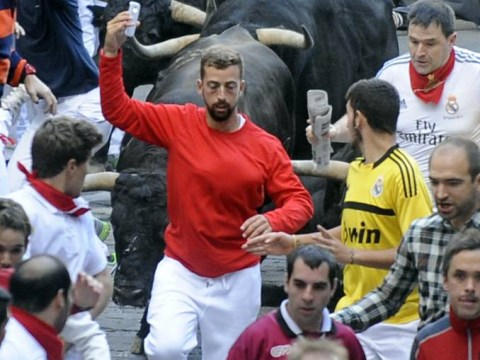 Is this Pamplona bull run selfie the most dangerous or coolest ever?