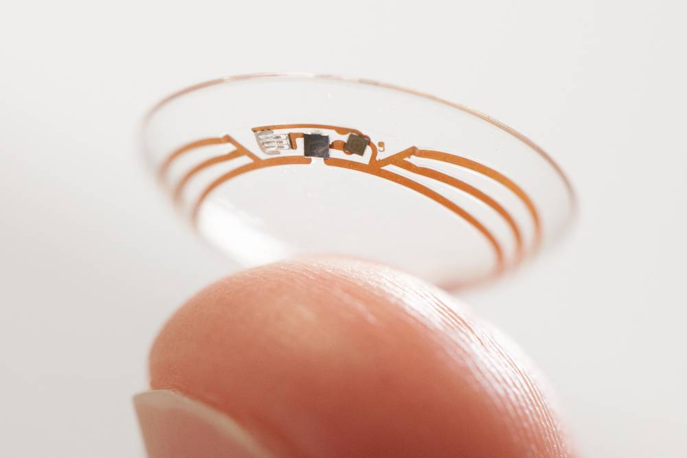 Undated handout photo issued by Google of a Google smart contact lens that can monitor the glucose levels in the eye is a step closer to reality as the company has announced a partnership with Swiss pharmaceutical company Novartis to develop it. PRESS ASSOCIATION Photo. Issue date: Tuesday July 15, 2014. The technology giant first unveiled the concept in January, which works using tiny sensors and microchips fitted into contact lenses that can then measure and read the amount of glucose in tears, before sending the information to a mobile device so diabetics can manage their condition. See PA story TECHNOLOGY Lenses. Photo credit should read: Skyscanner/PA Wire NOTE TO EDITORS: This handout photo may only be used in for editorial reporting purposes for the contemporaneous illustration of events, things or the people in the image or facts mentioned in the caption. Reuse of the picture may require further permission from the copyright holder.