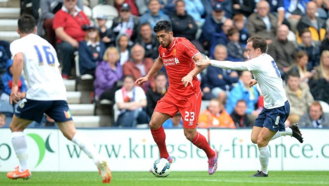 Liverpool's new signing Emre Can battles for the ball with Preston North End's Neil Kilkenny, during the Pre-Season friendly at Deepdale, Preston. PRESS ASSOCIATION Photo. Picture date: Saturday July 19, 2014. See PA Story SOCCER Preston. Photo credit should read: Martin Rickett/PA Wire.