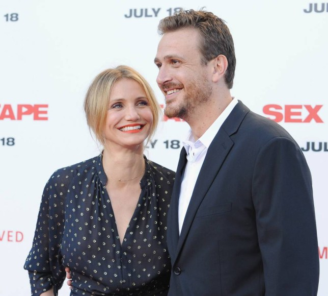 """WESTWOOD, CA - JULY 10:  Actress Cameron Diaz and actor Jason Segel arrive at the Los Angeles Premiere """"Sex Tape"""" at Regency Village Theatre on July 10, 2014 in Westwood, California.  (Photo by Jon Kopaloff/FilmMagic)"""