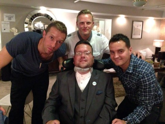 Coldplay frontman Chris Martin (left) with Jody Duff (centre) and his friends Adam Powell and Andy Roberts. A terminally ill man who is raising money to help fight his motor neurone disease