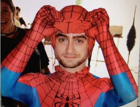 Harry Potter And The Web Of Deceit: Daniel Radcliffe dresses as Spider-Man