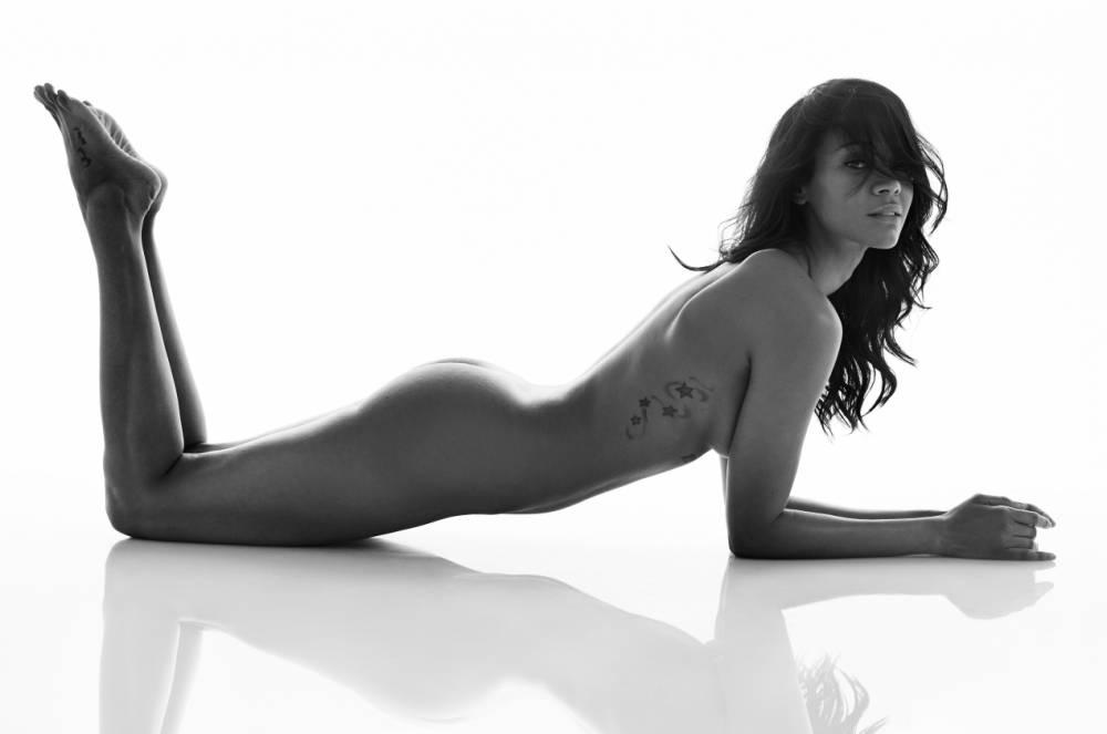 A bit of blue! Avatar star Zoe Saldana strips naked for cover shoot