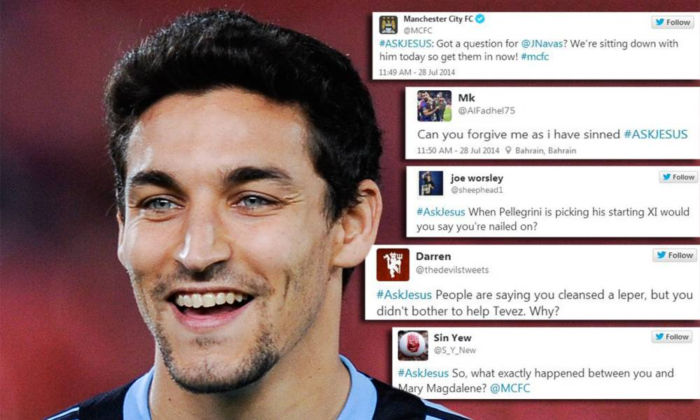 Manchester City launch #AskJesus hashtag for Jesus Navas Q&A, Twitter responds in hilarious fashion