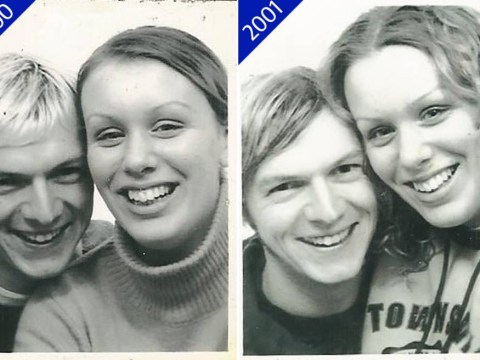 Photo-booth time machine as couple take pics each year, from dating to children