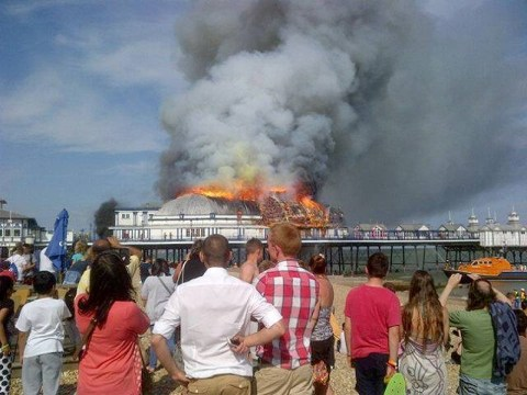 Eastbourne Pier fire: Iconic south-coast landmark at risk after huge blaze