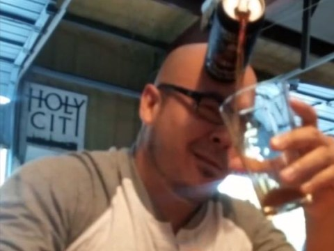 The party trick to end them all: Man pours beer using only his bald head