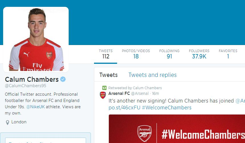 Calum Chambers completes Arsenal transfer, changes Twitter biography within seconds