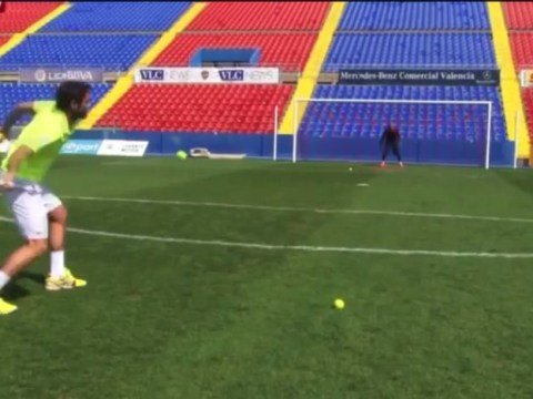 Arsenal and Liverpool goalkeeper target Keylor Navas warms up for Costa Rica World Cup quarter-final by saving tennis balls