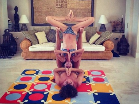 Carles Puyol is awesome at yoga – and so is his girlfriend Vanessa Lorenzo