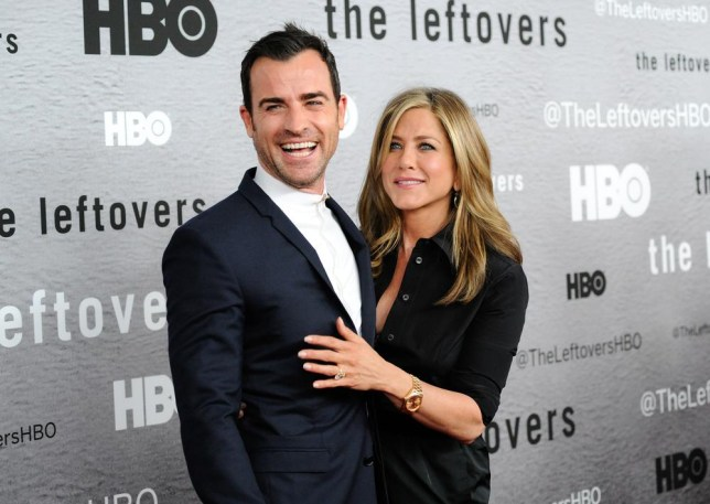 "Actors Jennifer Aniston, right, and Justin Theroux attend HBO's ""The Leftovers"" season premiere at the NYU Skirball Center on Monday, June 23, 2014 in New York. (Photo by Evan Agostini/Invision/AP) Evan Agostini/Invision/AP"