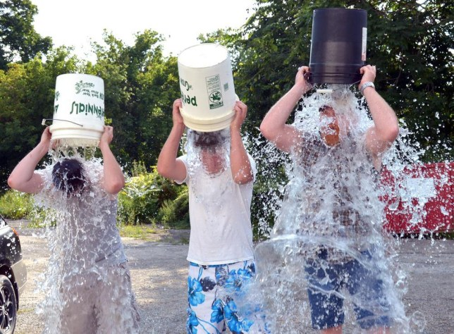 Nashville recording artists the Marshall Lowry Band was issued the ALS Ice Bucket Challenge by Lowry's uncle Steve McDonald. Wednesday afternoon, Aug. 20, 2014 in Fairmont W.Va, Members of the Marshall Lowry Band, Michael King, Marshall Lowry and Jay Cathell excepted the challenge. (AP Photo/Times West Virginian, Tammy Shriver) THE EXPONENT OUT; THE DOMINION-POST OUT