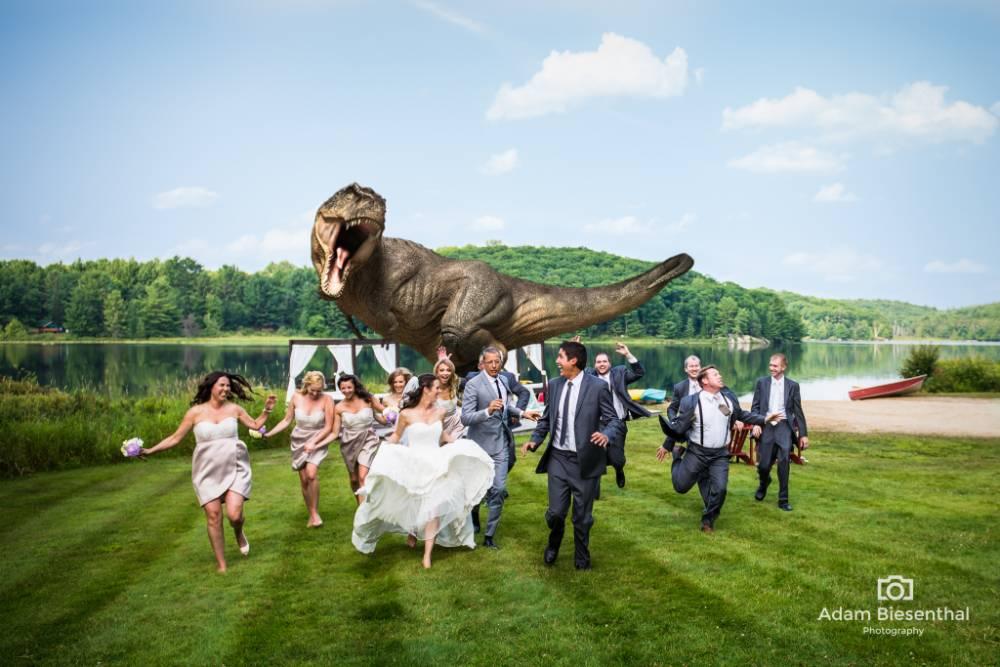 Adam Biesenthal photo of Jeff Goldblum recreating Jurassic Park at a wedding