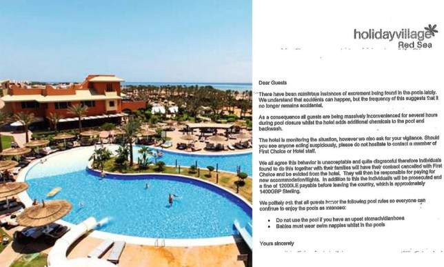 "Picture shows the Egyptian Red Sea Holiday Village which has threatened guests with £1,400 fines and eviction notices for pooping in the pool. See Ross Parry copy RPYLOGGING : Thousands of people are getting infected every year from a disturbing new craze nwhere people poo in hotel pools while on holiday.  The dangerous craze - known as logging - has become a favourite pastime for students, teens and boozed up Brits while enjoying fun in the sun.  But the party poopers are exposing themselves and innocent holidaymakers to deadly bacteria which can result in crippling diarrhoea and sickness and in extreme cases long term irritable bowel syndrome and even death.  Reps working for tour operators now dub the incidents ìcode brownsî whenever they take place and children as young as ten are now believed to be taking part.  Travel law expert Nick Harris, of Simpson Millar solicitors, said: ìThis is a very worrying trend and the craze has really taken off in the last few years. ""We have dealt with hundreds of cases where people have been left seriously ill.  ""Some idiots think it is humorous to deliberately poo in a crowded pool and then sit back and watch the carnage unfold as people try to escape the pool like a panic scene from the film Jaws."