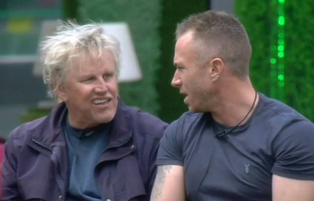 Mandatory Credit: Photo by REX (4078947ag)  Gary Busey and James Jordan during the Rumour Mill task  'Celebrity Big Brother' TV show, Elstree Studios, Hertfordshire, Britain - 19 Aug 2014