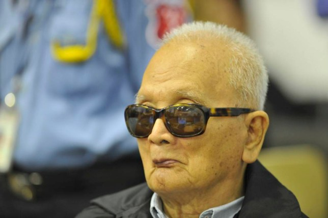 "Former Khmer Rouge leader ''Brother Number Two'' Nuon Chea attends his trial at the Extraordinary Chambers in the Courts of Cambodia (ECCC) on the outskirts of Phnom Penh, Cambodia.  The three most senior surviving commanders of the 1970s Khmer Rouge regime masterminded one of the ""worst horrors"" of the 20th century, killing or enslaving millions of Cambodians, a U.N.-backed war crimes trial heard on Monday. In opening statements in one of the world's most high-profile genocide trials, prosecutors said the three had called the shots in the bloody ""Killing Fields"" revolution that wiped out a quarter of the population and destroyed the lives of millions of survivors.     REUTERS/Mark Peters/ECCC/Handout (CAMBODIA - Tags: POLITICS CRIME LAW) FOR EDITORIAL USE ONLY. NOT FOR SALE FOR MARKETING OR ADVERTISING CAMPAIGNS. THIS IMAGE HAS BEEN SUPPLIED BY A THIRD PARTY. IT IS DISTRIBUTED, EXACTLY AS RECEIVED BY REUTERS, AS A SERVICE TO CLIENTS"
