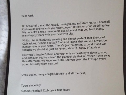 Fulham supporter gets fantastic letter from club on his wedding day
