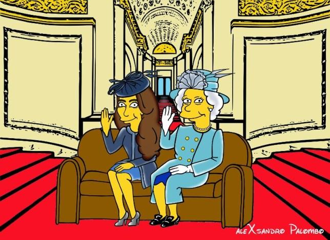 iddleton  Duchess of Cambridge and Queen Elizabeth Simpsonized The Simpsons Buckingham Palace  Art Cartoon Illustration Style Best Dresses Look Fashion Royal Icon Artist aleXsa (10)