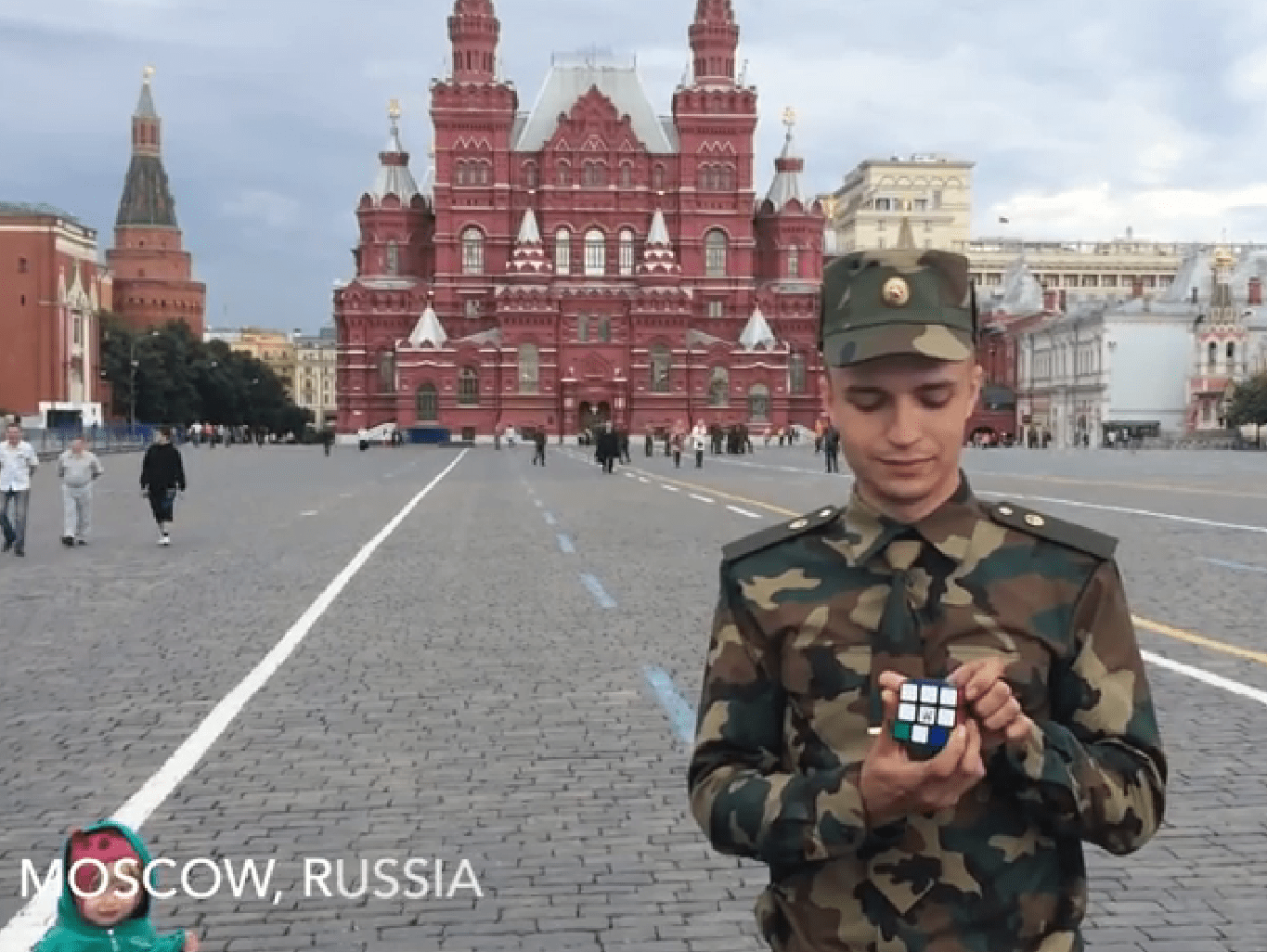 Solving a Rubik's Cube around the world