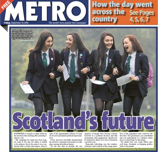 Front page of Metro Scotland today. Photo: © Metro