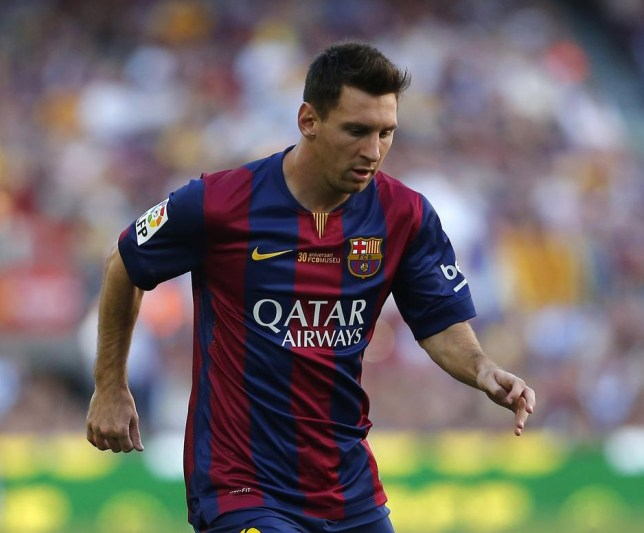 Barcelona's Lionel Messi from Argentina in action during a Spanish La Liga soccer match between F.C. Barcelona and Granada C.F. at the Camp Nou stadium in Barcelona, Spain, Saturday, Sept. 27, 2014. (AP Photo/Emilio Morenatti) AP Photo/Emilio Morenatti