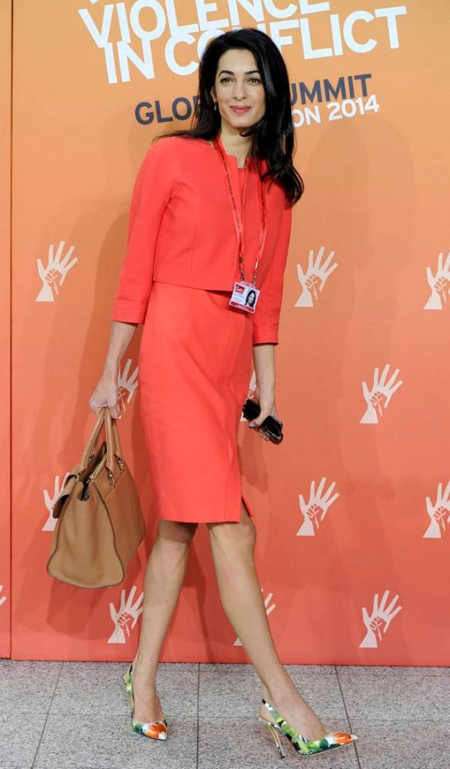 British-Lebanese human rights lawyer Amal Alamuddin, the fiancee of US actor George Clooney, attends the Global Summit to End Sexual Violence in Conflict at the Excel Centre in London, Britain, 12 June 2014. The event runs from 10 to 13 June.  EPA/FACUNDO ARRIZABALAGA