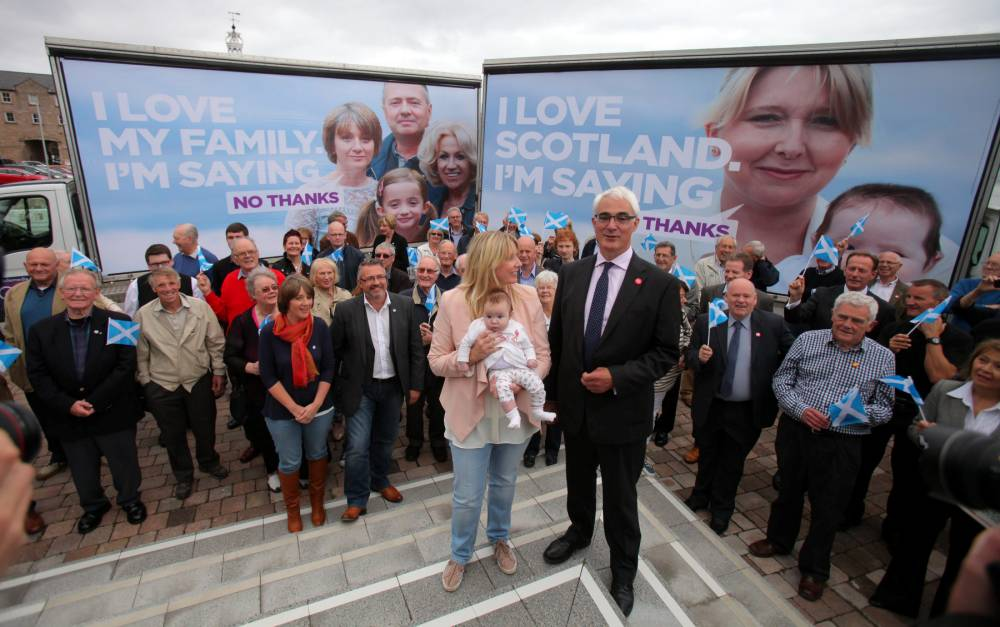 Better Together leader Alistair Darling was in Greenock, Inverclyde, to launched a new ad van featuring Leanne Williams and daughter Charlotte. He also made a speech setting out the impact of separation for families in Scotland. September 01 2014.