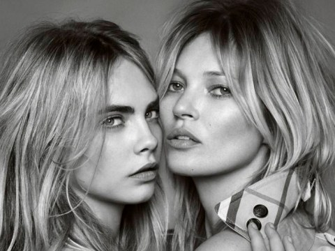 Kate Moss and Cara Delevingne cosy up for Burberry