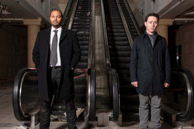 Reece Shearsmith as DS Sean Stone and Noel Clarke as DCI Carl Prior in Chasing Shadows (Picture: ITV1)